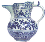 Chrysatnthemum Ewer and Cover - Blue and White Porcelain