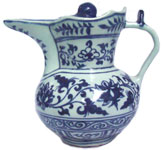 Ewer and Cover with Lotus Design - Blue and White Porcelain