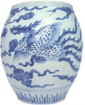Wide-Mouth Vase with Phoenix - Blue and White Porcelain
