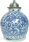 Covered Jar with Chrysanthemums - Blue and White Porcelain