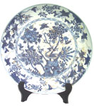Large Plate with Peacock - Blue and White Porcelain