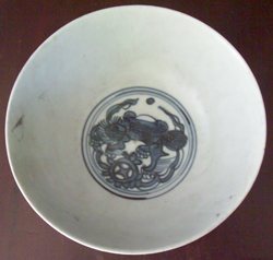 Bowl with Animal Figure - Chinese Blue and White Porcelain