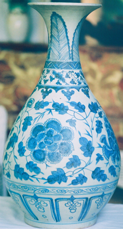 Bottle Vase with Peonies - Chinese Blue and White Porcelain