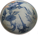 Dish with Floral Design - Blue and White Porcelain