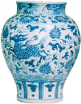 Guan with Phoenix and Qilin - Blue and White Porcelain