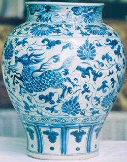 Guan with Qilin & Phoenix - Chinese Blue and White Porcelain