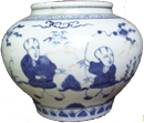 Small Guan with Sages - Blue and White Porcelain