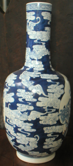 Rouleau Vase with Peonies - Chinese Blue and White Porcelain
