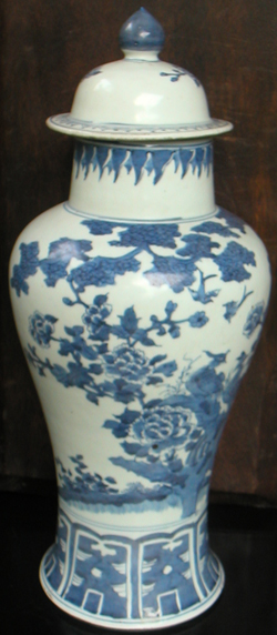 Covered Baluster Vase - Chinese Blue and White Porcelain