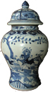 Covered Meiping with Garden Scenes - Blue and White Porcelain