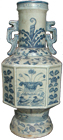 Octogon-Shaped Temple Vase - Blue and White Porcelain