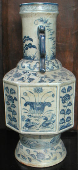 Octagon Shaped Temple Vase - Chinese Blue and White Porcelain