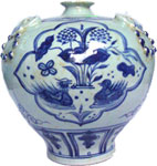 Meiping Vase with Double Ducks - Blue and White Porcelain
