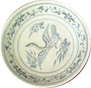 Tradeware Plate with Floral Design - Blue and White Porcelain
