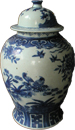 Covered Meiping with birds - Blue and White Porcelain