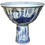 Stemcup with Water Scenes - Blue and White Porcelain
