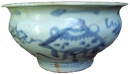 Swatow Bowl with Triangular Figure - Blue and White Porcelain
