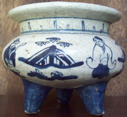 Censer with Female Figures - Chinese Blue and White Porcelain