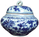 Covered Container with Floral Design - Blue and White Porcelain