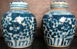 Double Happiness Jars with Cover - Chinese Blue and White Porcelain