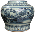 Vase with Rural Scene - Blue and White Porcelain