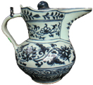 Covered Ewer with Lotus Scroll - Blue and White Porcelain