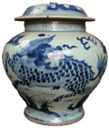 Covered Vase with Qilin - Blue and White Porcelain