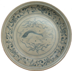 Plate with Fish Scene - Blue and White Porcelain