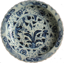 Large Plate with Floral Design - Blue and White Porcelain