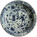 Large Plate with Sages - Blue and White Porcelain