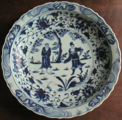 Large Plate with Sages - Chinese Blue and White Porcelain