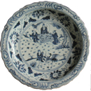 Large Plate with Game Playing Sages - Blue and White Porcelain