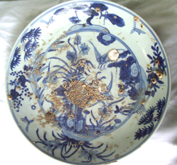 Large Plate with Floral Design - Chinese Blue and White Porcelain
