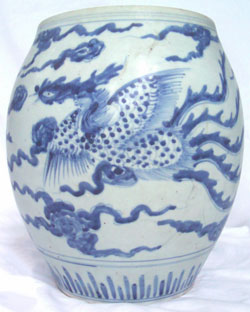 Wide Mouth Vase with Phoenix - Chinese Blue and White Porcelain