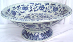 Large Platter with Peacock & Lotus - Chinese Blue and White Porcelain