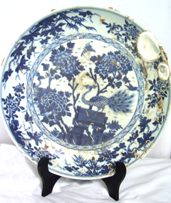 Large Plate with Peacock - Chinese Blue and White Porcelain