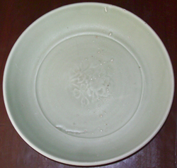 Plate with Floral Design - Chinese Celadon Stoneware Ceramics