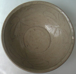 Brown Celadon Bowl with Flowers -  Celadon Stoneware Ceramics