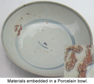 Embedded materials in an ancient Chinese Porcelain
