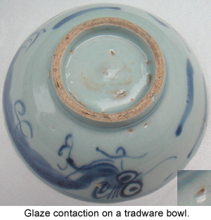 Glaze Contractions on an ancient Chinese Blue and White Porcelain Bowl