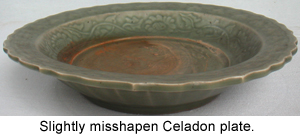 Distorted shapes are common on ancient Chinese Celadons and Porcelain.