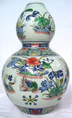 Double-Gourd Vase with Ducks - Qing Dynasty Chinese Porcelain