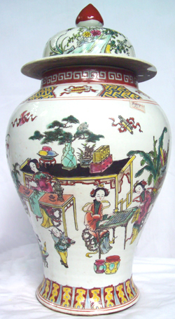 Covered Vase with Seated Girl - Qing Dynasty Chinese Porcelain