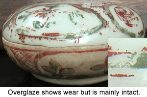 Painted overglaze decoration on this Chinese Porcelain shows wear after centuries underwater.