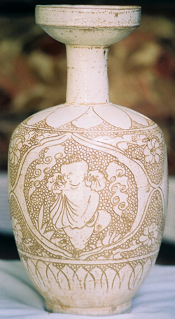 Dish-Mouthed Vase with Figures- Chinese Porcelain and Stoneware