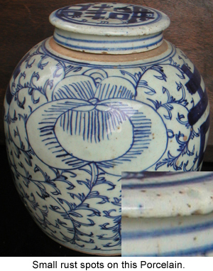 Rust Spots on Chinese Blue and White Porcelain