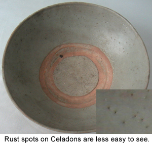 Rust Spots on Chinese Celadon Ceramic