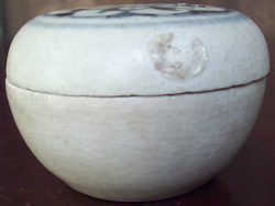 Covered Container with Peony - Underglaze Black Chinese Ceramics