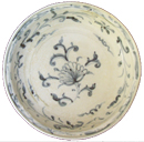 Shipwreck Plate with Floral Design - Underglaze Black Ceramics