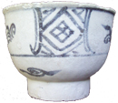 HIgh-Foot Bowl with Square Design - Underglaze Black Ceramics